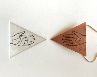 Copper triangle hand niello necklace and etching print