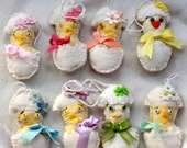 Chick-in-Egg Easter Novelty Quilty Critter - OOAK, Folk Art, Ornament