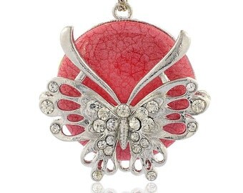 1pc Zinc Alloy Pendant with Rhinetones& Resin-10161