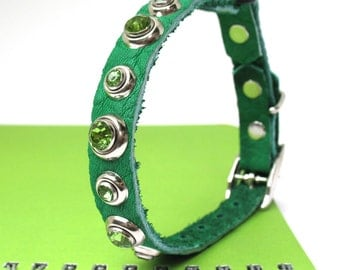 Bright Green Leather Cat Collar with Green Crystal Rivets, Eco-Friendly, Size to fit a 8-10in Neck, OOAK