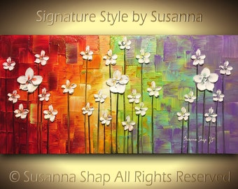 ORIGINAL White Flower Painting Large Palette Knife Blossom Abstract Landscape Oil Painting Multicolored Modern Texure Art 48x24 by Susanna