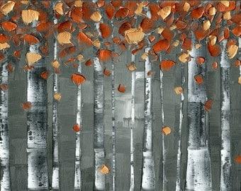 Abstract Art Copper Birch Tree Landscape Aspen Giclee Canvas PRINT Home Decor Wall Art Large Modern Orange Grey Contemporary Art by Susanna