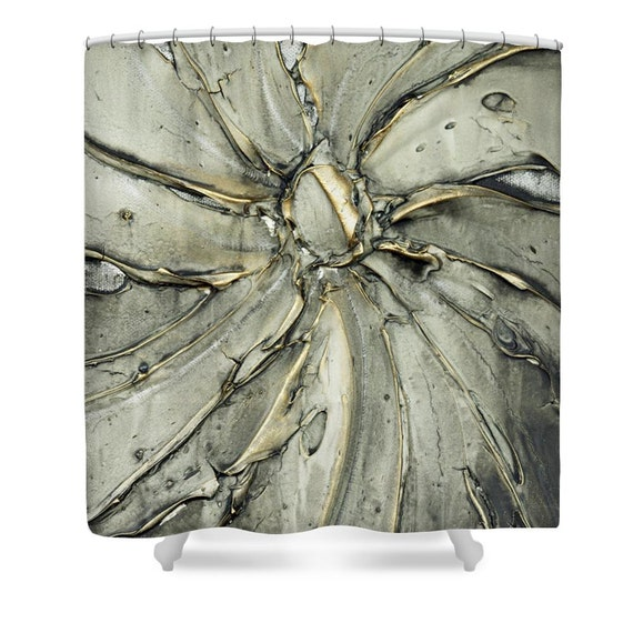 Gray Shower Curtain Art Designer Abstract Gold By ModernHouseArt