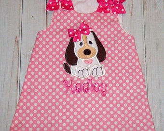 Girly Puppy Dog Applique with Hot Pink Bow Monogram Pink Polka Dot A-line Dress - birthday party dress - school dress - pre-k dresss