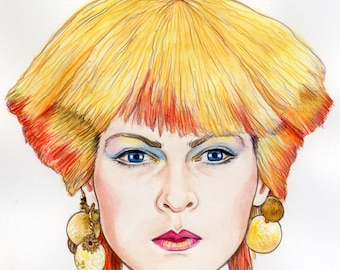 Original Watercolor Pencil Painting Portrait Art Toyah Anthem Eighties 7 x 7 inches