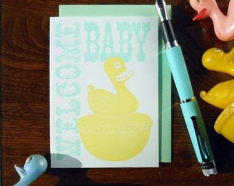 letterpress welcome baby carnival duck pond greeting card mint & yellow