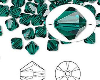 Swarovski Elements Crystal beads 6MM EMERALD GREEN (31) 5301 bicone