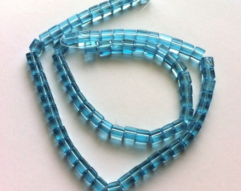 Glass Cube Beads Light Sky Blue (GB119) About 85 Beads - 14 inch strand Jewelry Making DIY Supplies Geometric Cube Beads