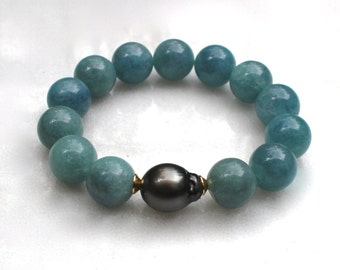 Little Luxe Simple Stacking Stretch Bracelet in Tahitian Pearl and Aquamarine...