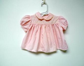 Samara . Peter Pan collar . puff sleeves . pink dress . baby size 6 - 9 months