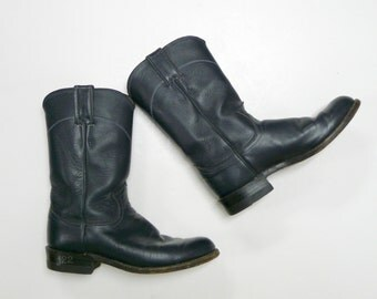dark blue leather boots . size 5 1/2 B . made in USA