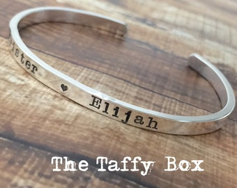 Sterling Silver Custom Hand Stamped Cuff Bracelet