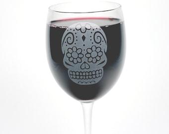 Sugar Skull Wine Glass - Day of the Dead stemware