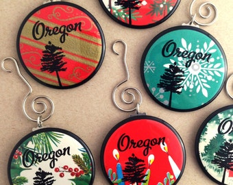 Oregon Ornament - Made with Vintage gift wrap - Oregon with Tree - by Via Delia