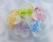 Lampwork Glass Beads Rainbow Blossom Heart Set - 5