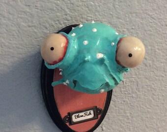 Faux Taxidermy the Blue blowfish Ooak  wall art doll