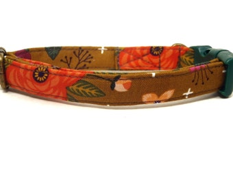 Laurel Canyon - Organic Cotton CAT Collar Breakaway Safety Flowers - All Antique Brass Hardware