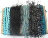 Yarn Scraps Weaving Supplies Black Aqua Teal 1240