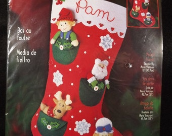 Bucilla Pocket Friends Christmas Felt Stocking Kit Stanziani Design 18 in Sealed