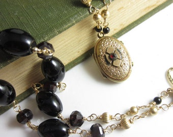 Victorian Gothic Necklace - Antique Gold Fill Locket on Hand Link Black Onyx and Garnet Chain