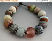 SALE Naos Glass - Indian Summer Made To Order Artisan Glass Beads Lilac Sienna Copper Green Blue Peach Olive Handmade Lampwork Beads SRA