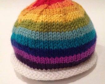 Rainbow Baby Hat - Custom Knit