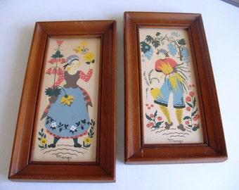 Vintage Margo Alexander Sophisticated Provincials Folk Art Framed Print Pair