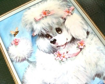 Vintage Kawaii Poodle Dog Nursery Decor Print