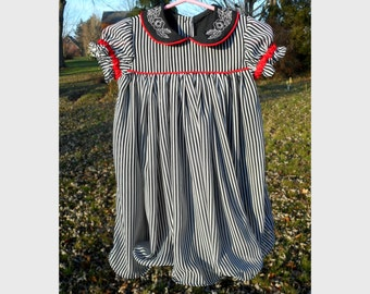 Christmas Dress Little Girls Chiffon Black White Stripe 18M - 2T