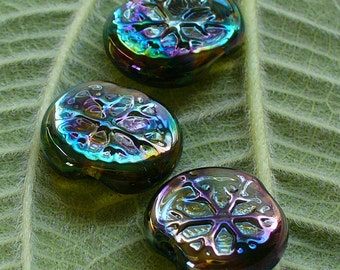 Lampwork Glass Beads by Catalinaglass SRA   Snowflakes on Silver  Trio