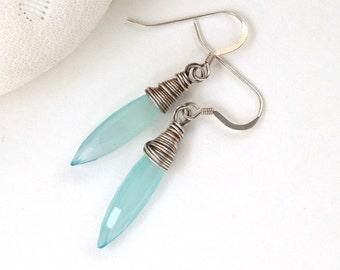 Aqua Chalcedony Earrings, Long Pastel Earrings, Minimalist Earrings, Wire Wrapped Gemstone Earrings, Mint Green Earrings, Lani