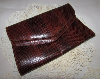 Vintage Coffee Brown Snake skin Leather Double Flap Clutch Purse by ESTEVE, 70s, accessory, chic