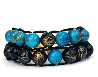 Blue and Teal with gold clasp - Ablet Knitting Abacus - Row Counter bracelet