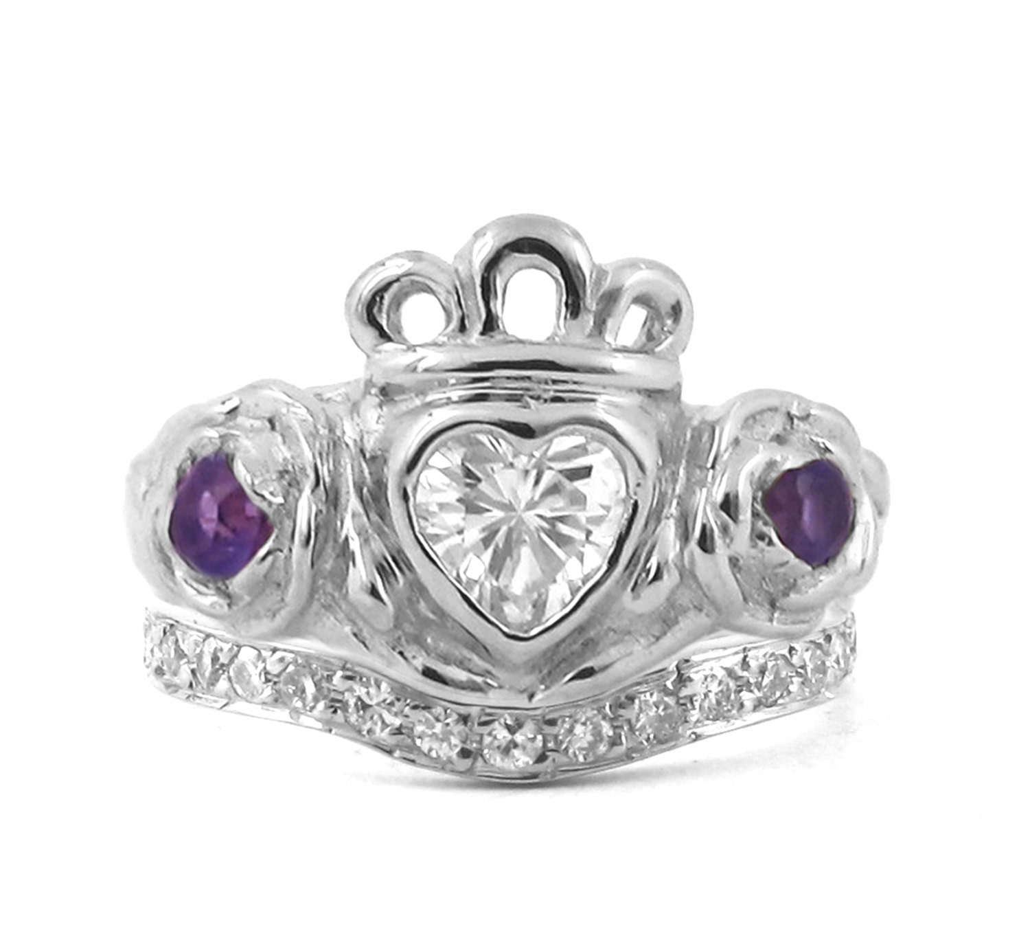 Irish Rose Engagement and Wedding Ring Set Celtic Claddagh