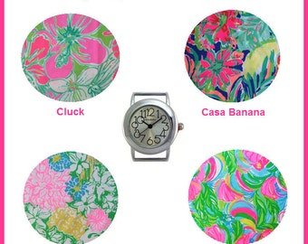 2016 Lilly Pulitzer Fabric Wrist Band with or without Silver Watch Face ~ Choose Print