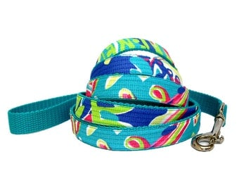 "Dog Leash: Lilly Pulitzer Toucan Play Fabric 60"" or 72"""