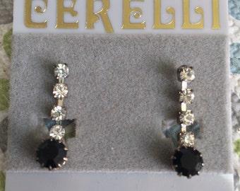 Fun Pair of Clear and Black Rhinestone Dangle Fashion Earrings Lot 36