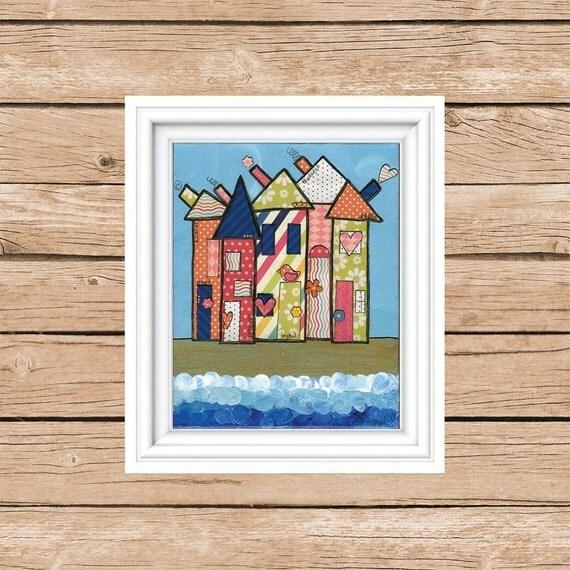 Beach House Decor Beach Art Whimsical Mixed By