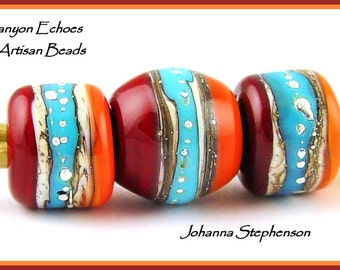 Canyon Echoes Silvered Red Hot n Mango Jewelry Set Lampwork Beads SRA