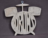 Drums Drummer  Band Instrument Ornament  Wooden Toy Hand Cut with Scroll Saw