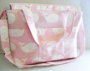 Backpack Diaper Bag - Pink Whale - Messenger - Diaper Bag - Convertible Bag - Backpack