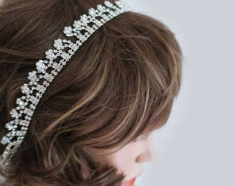 Crystal Headband, Wedding Rhinestone Headband, Bridal Hairband, Crystal Sash, Bridal Hair Accessories, Crystal belt, Thin, Drop, Vintage