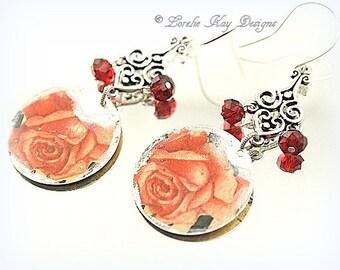 Shabby Roses Boho Tin Earrings Upcycled Tin Floral Motif Summer Dangle Lightweight Earrings