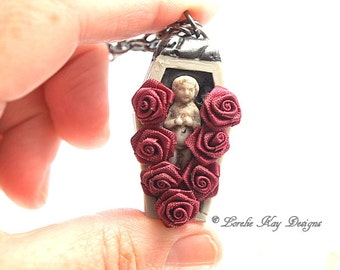 Bed of Roses Cemetary Frozen Charlotte Necklace Scary Cute Gothic Pendant Lorelie Kay Original