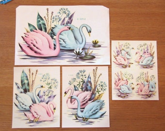 Vintage decals, Meyercord decals, set of swan decals, image transfers, 1950s decals, canister decals, bathroom decals, pink and blue swans