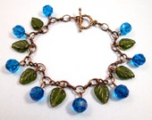 Blueberries Bracelet, Berry Blue Crystals and Emerald Green Glass Beaded, Brass Charm Bracelet, FREE Shipping U.S.