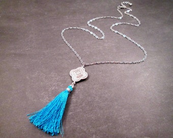 Tassel Necklace, Blue Silk Tassel and Silver Pendant Necklace, FREE Shipping U.S.
