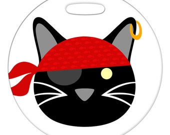Luggage Tag - Pirate Kitty - Round Plastic Bag Tag