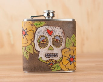 Sugar Skull Flask - Handmade Leather Hip Flask in the Walden Pattern with Day of the Dead Skull - 6oz Size - White, yellow, antique black