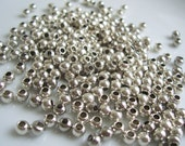 Silver Pewter Beads - shiny small round beads - 3mm - lead free - 320 beads